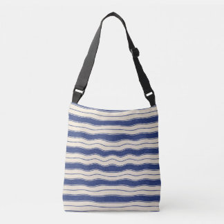 Wavy Blue and White Stripes Tote Bag