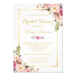 Wedding Bridal Shower Chic Floral Golden Frame 13 Cm X 18 Cm Invitation Card