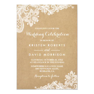 Wedding Celebration Classy Floral Lace Kraft 13 Cm X 18 Cm Invitation Card