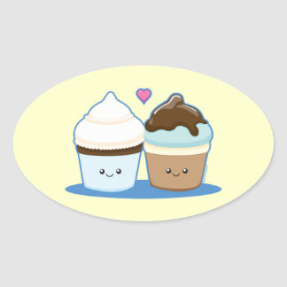 Wedding Cupcakes Oval Sticker