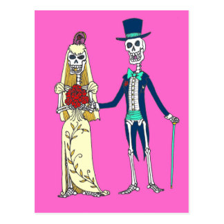 Wedding Day of the Dead Postcard