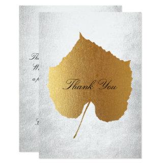 Wedding Golden Leaf Silver Thank You 9 Cm X 13 Cm Invitation Card