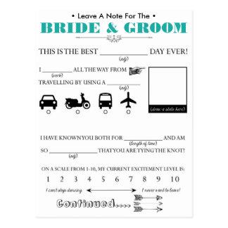 Wedding Guest Advice Card Postcard