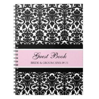 Wedding Guest Book Pink Damask Notebook