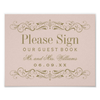 Wedding Guest Book Sign | Antique Gold Flourish Poster
