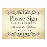 Wedding Guest Book Sign | Vintage Flourish 17 Cm X 22 Cm Invitation Card