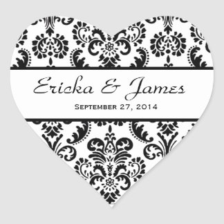 Wedding Heart Damask Black and White V01 Heart Sticker