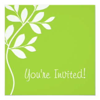 Wedding Invitation Leaf Branch Lime