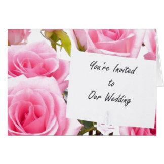 Wedding Invitation Pink Roses Card