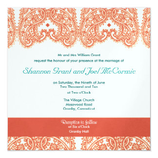 Wedding Invite Coral and Teal