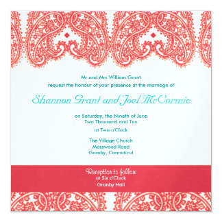 Wedding Invite Rasberry and Teal