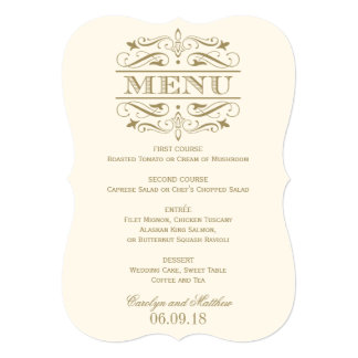 Wedding Menu Card | Antique Gold Flourish 13 Cm X 18 Cm Invitation Card