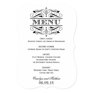 Wedding Menu Card | Black Elegant Flourish 13 Cm X 18 Cm Invitation Card