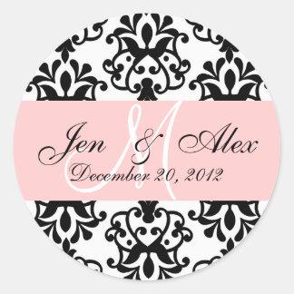Wedding Monogram Save Date Damask Seal Round Sticker