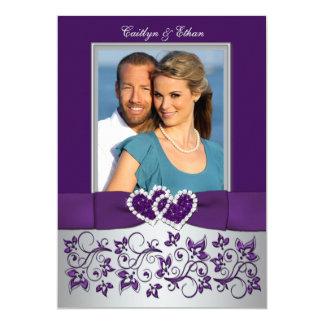 Wedding | Purple, Silver | Floral, Hearts | Photo 13 Cm X 18 Cm Invitation Card