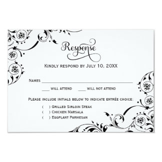 Wedding Response Card | Black Scroll 9 Cm X 13 Cm Invitation Card