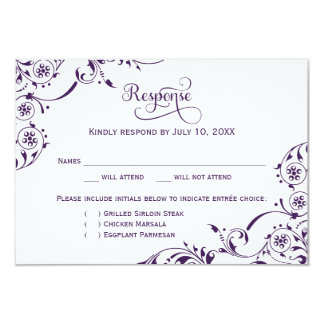 Wedding Response Card | Dark Purple Scroll 9 Cm X 13 Cm Invitation Card