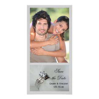 Wedding Rings Save the Date Announcement Photo Card Template