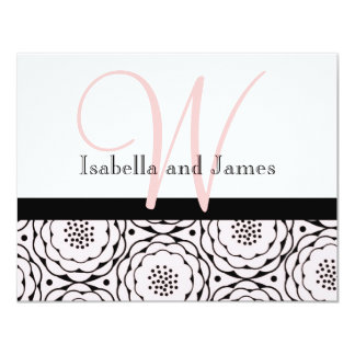 Wedding RSVP Card Floral Pink Monogram & Names 11 Cm X 14 Cm Invitation Card