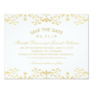 Wedding Save the Date Cards   Gold Vintage Glamour 11 Cm X 14 Cm Invitation Card