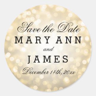 Wedding Save The Date Gold Glitter Lights Round Sticker