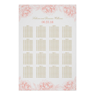 Wedding Seating Chart Poster | Floral Peony Design
