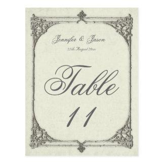 Wedding Table Number Card Antique / Vintage Frame Postcard