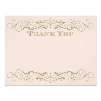 Wedding Thank You Card | Antique Gold Flourish 11 Cm X 14 Cm Invitation Card