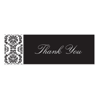 WEDDING :: thank you tag :: damask - black 2 Pack Of Skinny Business Cards