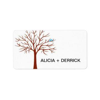 Wedding Tree-Love Birds Stamp Address Label