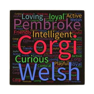 Welsh Corgi Word Cloud Maple Wood Coaster