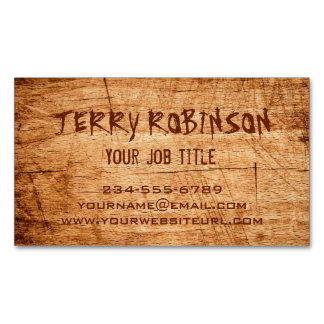 Western Country Rustic Scratched Wood Grain Magnetic Business Cards