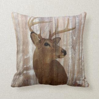 western country rustic wood grain deer head cushions