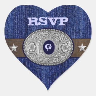 Western Wedding Denim Heart RSVP Envelope Seals Heart Sticker