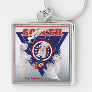 Westie Puppy US Flag Soccer Design – Customize It! Silver-Colored Square Key Ring