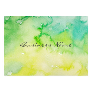Wet Watercolor Yellow Green and Turquoise Blue Pack Of Chubby Business Cards
