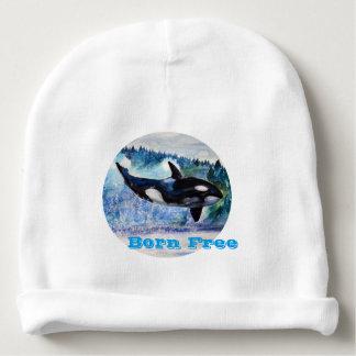 Whale Born Free Custom Baby Cotton Beanie Baby Beanie