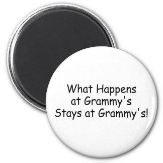 What Happens At Grammy Black 6 Cm Round Magnet