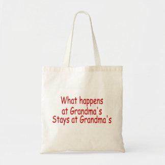 What Happens At Grandma's Stays At Grandma's Budget Tote Bag