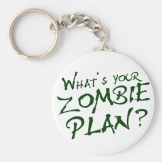 What's Your Zombie Plan? Basic Round Button Key Ring