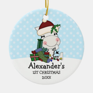 Whimsical 1st Christmas Santa Zebra Personalized Round Ceramic Decoration