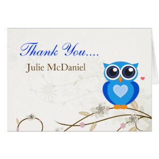 Whimsical Blue Owl Thank You Cards