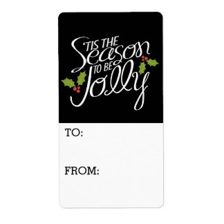 Whimsical Christmas Lettering with Holly Shipping Label