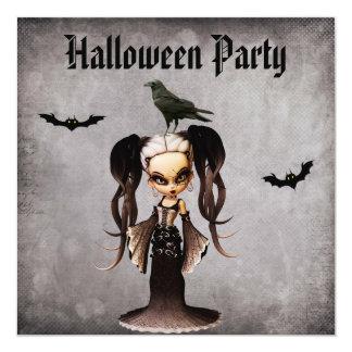 Whimsical Frankie Bride & Crow Damask Halloween 13 Cm X 13 Cm Square Invitation Card