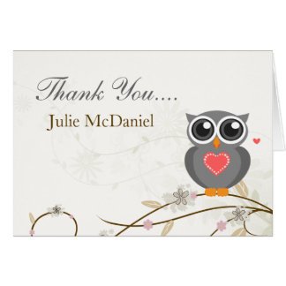 Whimsical Grey Owl Thank You Cards