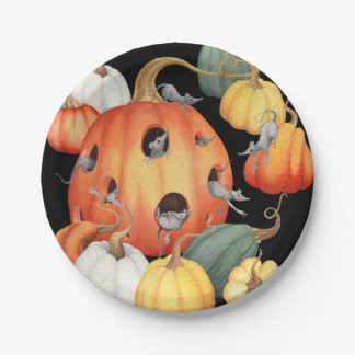 Whimsical Mice and Pumpkins Halloween 7 Inch Paper Plate