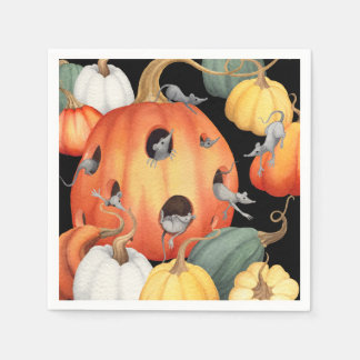 Whimsical Mice and Pumpkins Halloween Paper Napkin