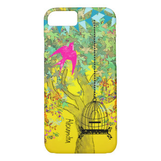 Whimsical Tree Birdcage Bright Color Musical Notes iPhone 7 Case