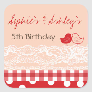 Whimsical Twin Birds Lace Birthday Party Sticker
