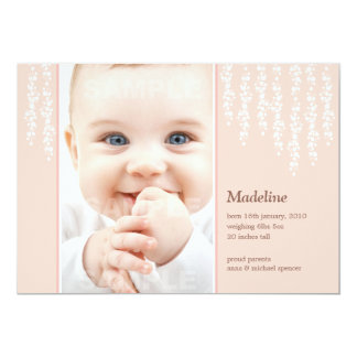 Whimsical Vines Birth Announcement Pink Card